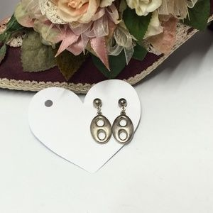 Unique Vintage Silver Tone Dangle Earrings
